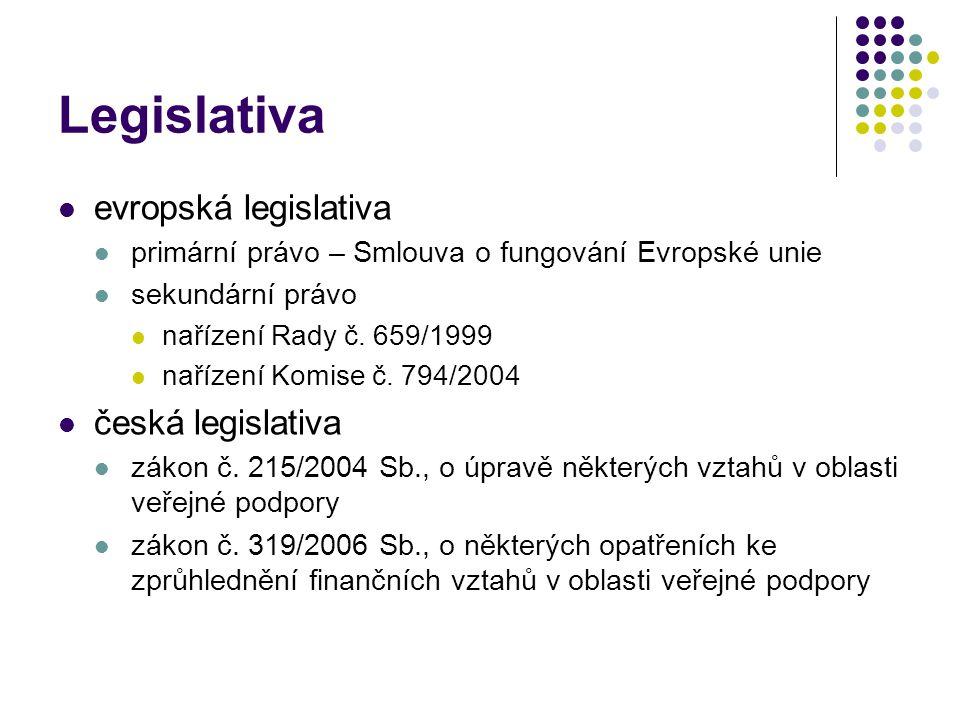 Legislativa evropská legislativa primární právo – Smlouva o fungování Evropské unie sekundární právo nařízení Rady č. 659/1999 nařízení Komise č. 794/