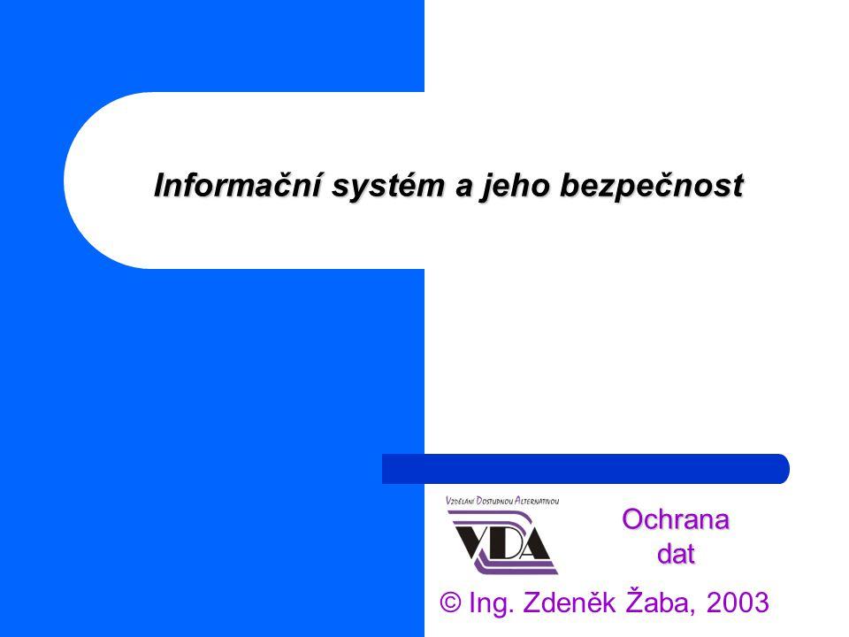 Informační systém a jeho bezpečnost © Ing. Zdeněk Žaba, 2003 Ochrana dat