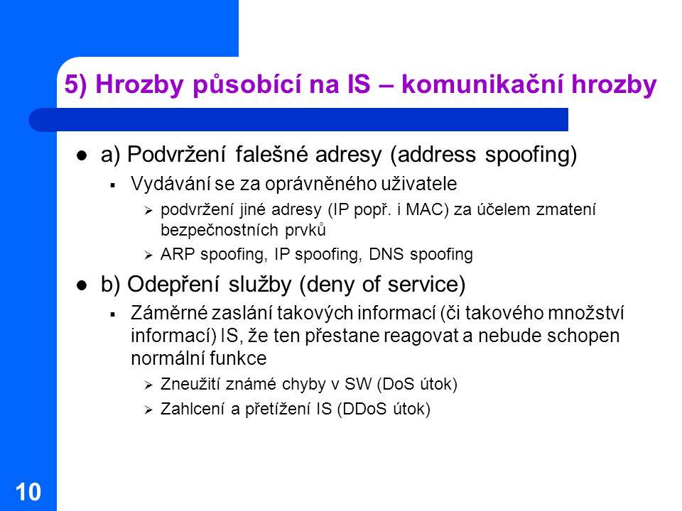 10 5) Hrozby působící na IS – komunikační hrozby a) Podvržení falešné adresy (address spoofing)  Vydávání se za oprávněného uživatele  podvržení jiné adresy (IP popř.