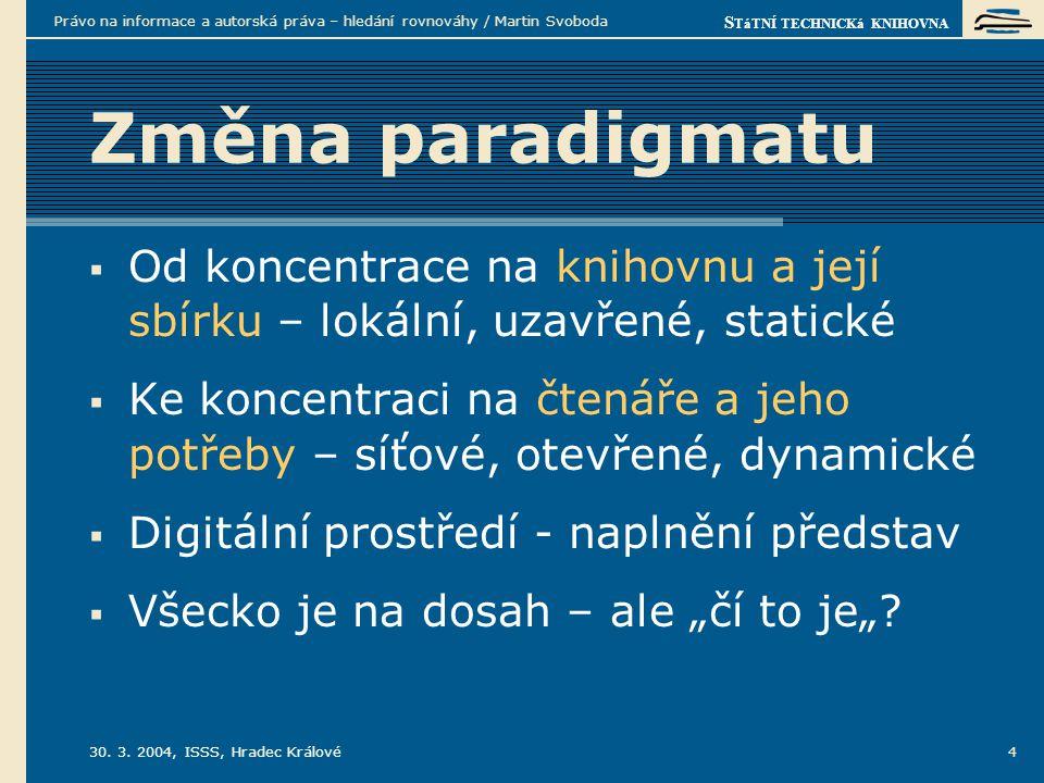 S TáTNÍ TECHNICKá KNIHOVNA 30. 3. 2004, ISSS, Hradec Králové Právo na informace a autorská práva – hledání rovnováhy / Martin Svoboda 4 Změna paradigm