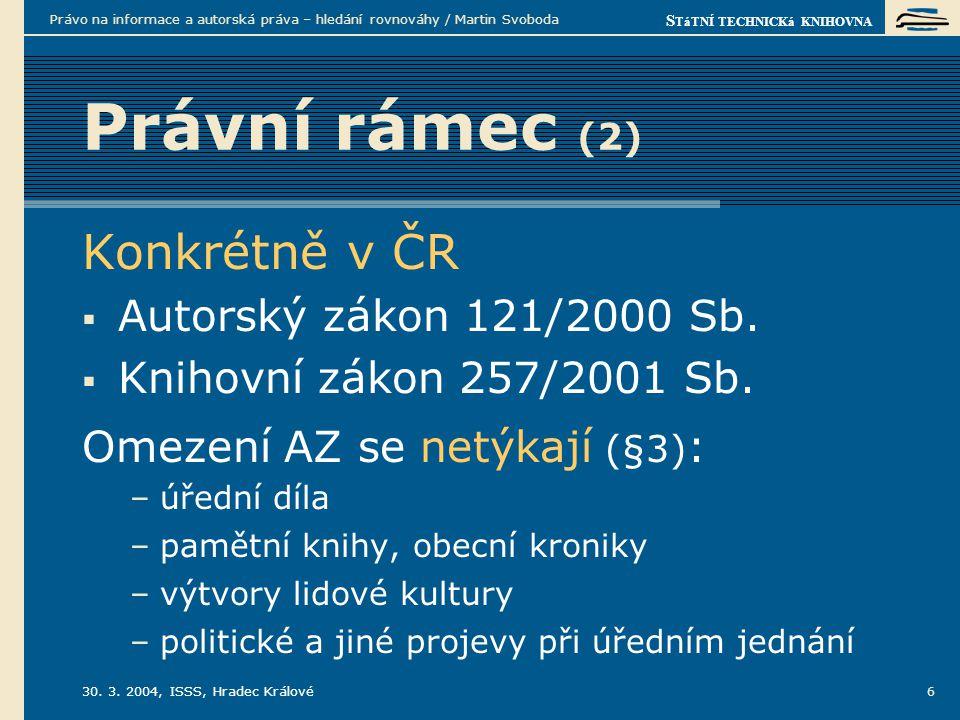 S TáTNÍ TECHNICKá KNIHOVNA 30. 3. 2004, ISSS, Hradec Králové Právo na informace a autorská práva – hledání rovnováhy / Martin Svoboda 6 Právní rámec (