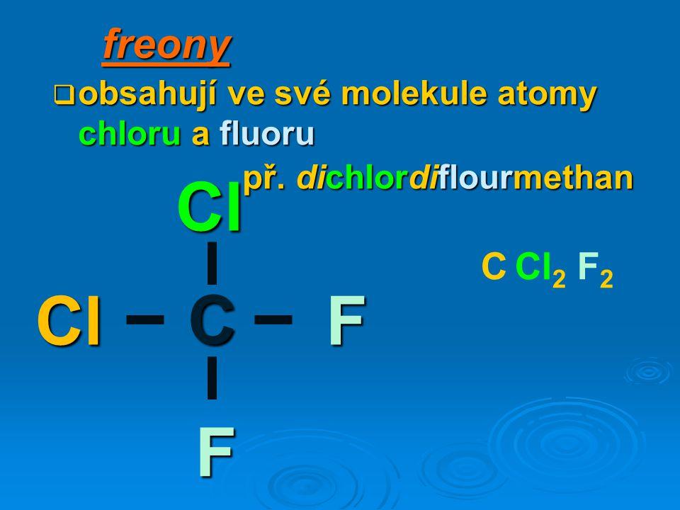 freony  obsahují ve své molekule atomy chloru a fluoru př.