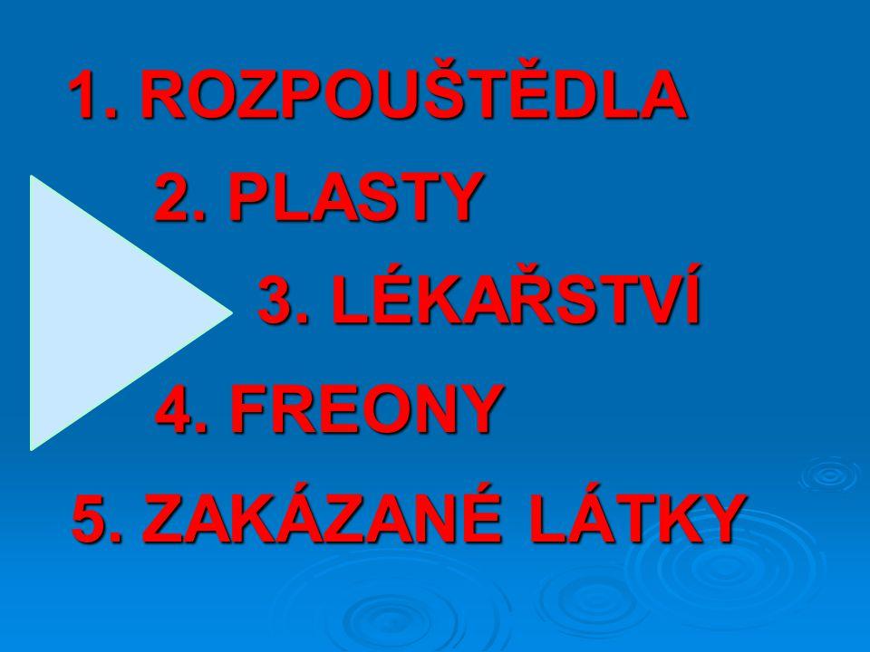 2. PLASTY 1. ROZPOUŠTĚDLA 5. ZAKÁZANÉ LÁTKY 3. LÉKAŘSTVÍ 4. FREONY