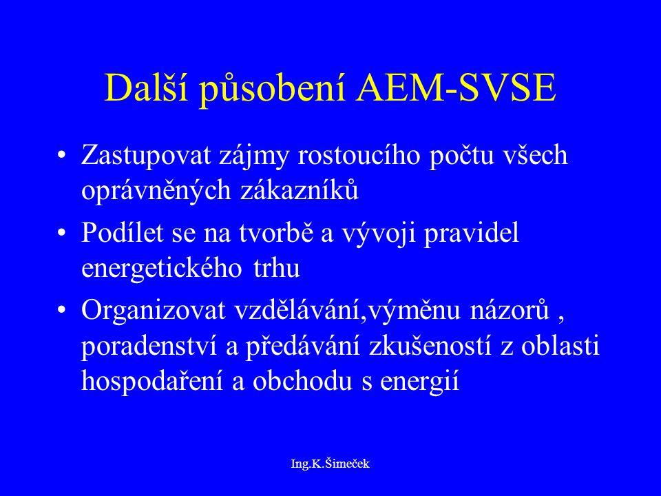 Ing.K.Šimeček Další působení AEM-SVSE Zastupovat zájmy rostoucího počtu všech oprávněných zákazníků Podílet se na tvorbě a vývoji pravidel energetického trhu Organizovat vzdělávání,výměnu názorů, poradenství a předávání zkušeností z oblasti hospodaření a obchodu s energií