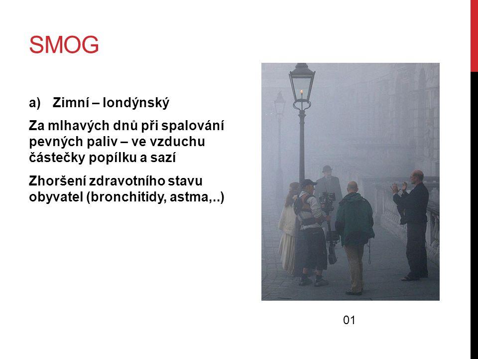 SMOG a)Zimní – londýnský Za mlhavých dnů při spalování pevných paliv – ve vzduchu částečky popílku a sazí Zhoršení zdravotního stavu obyvatel (bronchi