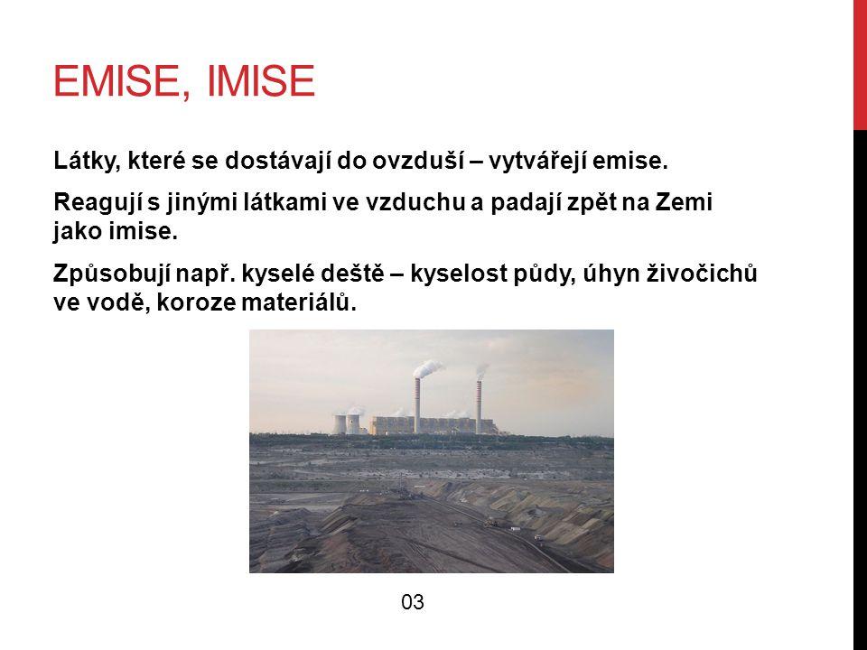 EMISE, IMISE Látky, které se dostávají do ovzduší – vytvářejí emise. Reagují s jinými látkami ve vzduchu a padají zpět na Zemi jako imise. Způsobují n