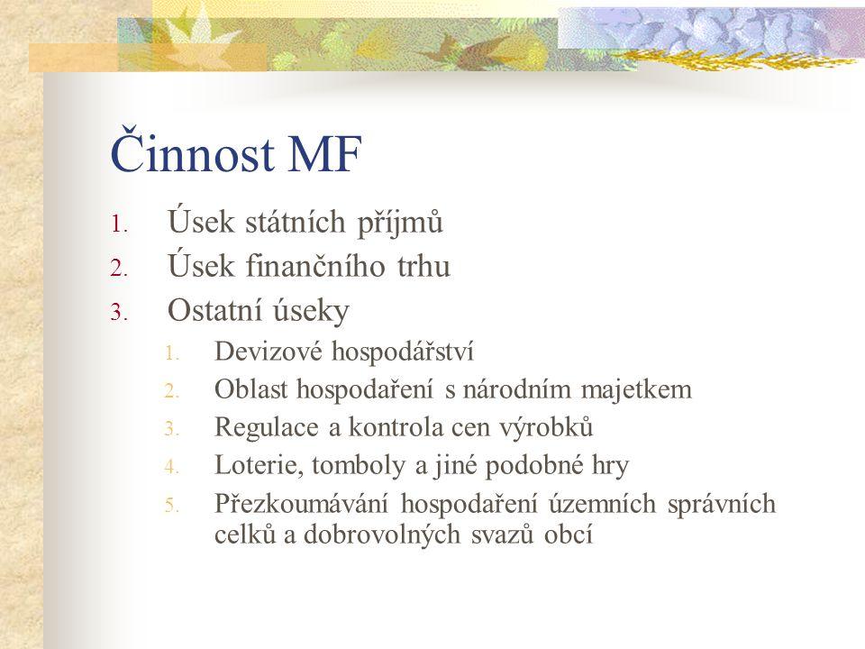 Organizační struktura MF Ministr financí: Ing.