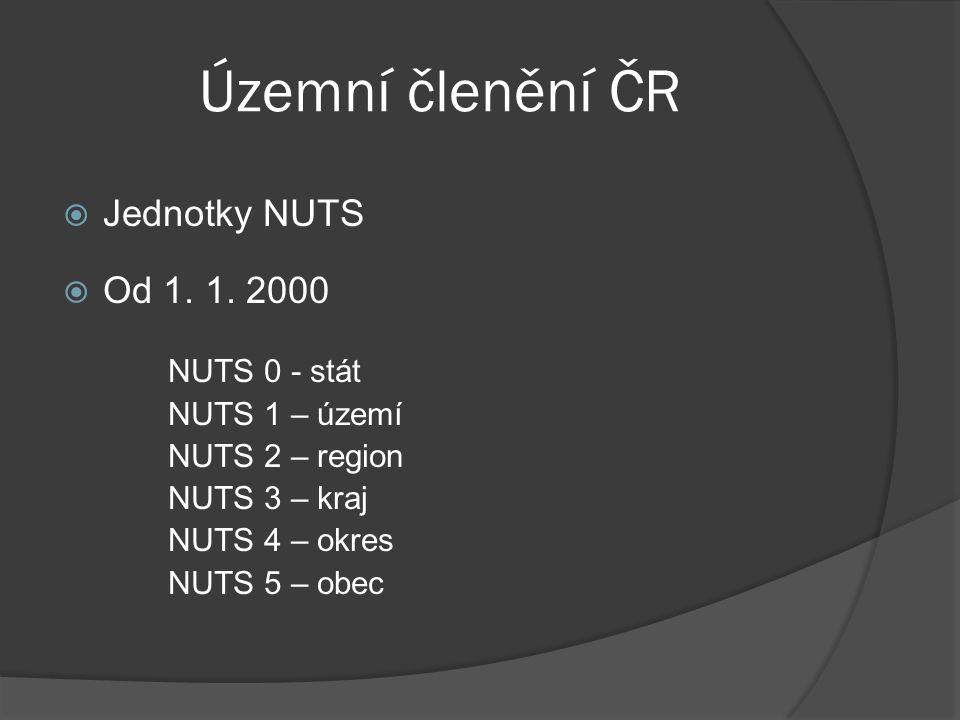 Územní členění ČR  Jednotky NUTS  Od 1. 1. 2000 NUTS 0 - stát NUTS 1 – území NUTS 2 – region NUTS 3 – kraj NUTS 4 – okres NUTS 5 – obec