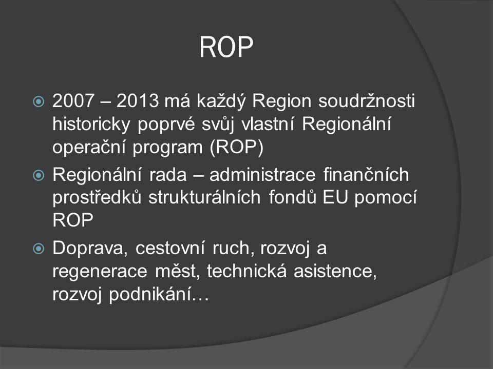 ROP  2007 – 2013 má každý Region soudržnosti historicky poprvé svůj vlastní Regionální operační program (ROP)  Regionální rada – administrace finanč