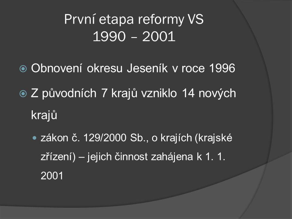 První etapa reformy VS 1990 – 2001  Obnovení okresu Jeseník v roce 1996  Z původních 7 krajů vzniklo 14 nových krajů zákon č. 129/2000 Sb., o krajíc