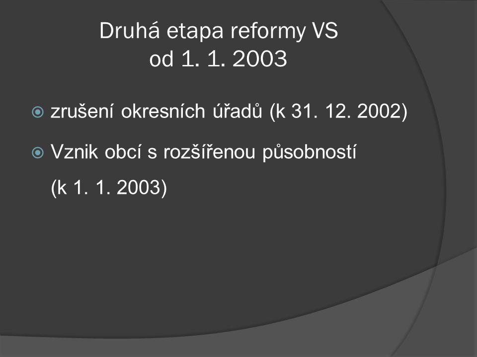 Druhá etapa reformy VS od 1. 1. 2003  zrušení okresních úřadů (k 31. 12. 2002)  Vznik obcí s rozšířenou působností (k 1. 1. 2003)