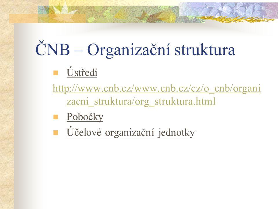 ČNB – Organizační struktura Ústředí http://www.cnb.cz/www.cnb.cz/cz/o_cnb/organi zacni_struktura/org_struktura.html Pobočky Účelové organizační jednot