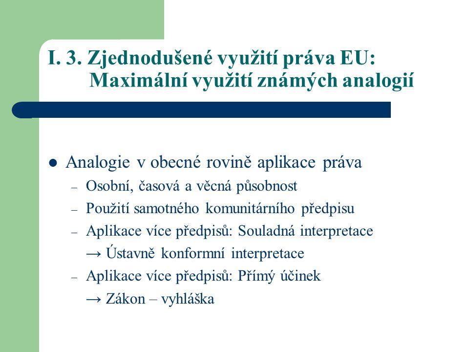 I. 3. Zjednodušené využití práva EU: Maximální využití známých analogií Analogie v obecné rovině aplikace práva – Osobní, časová a věcná působnost – P