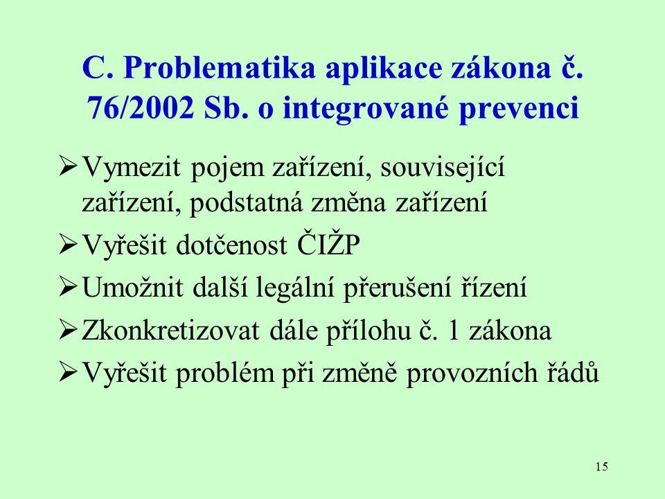 15 C. Problematika aplikace zákona č. 76/2002 Sb. o integrované prevenci  Vymezit pojem zařízení, související zařízení, podstatná změna zařízení  Vy