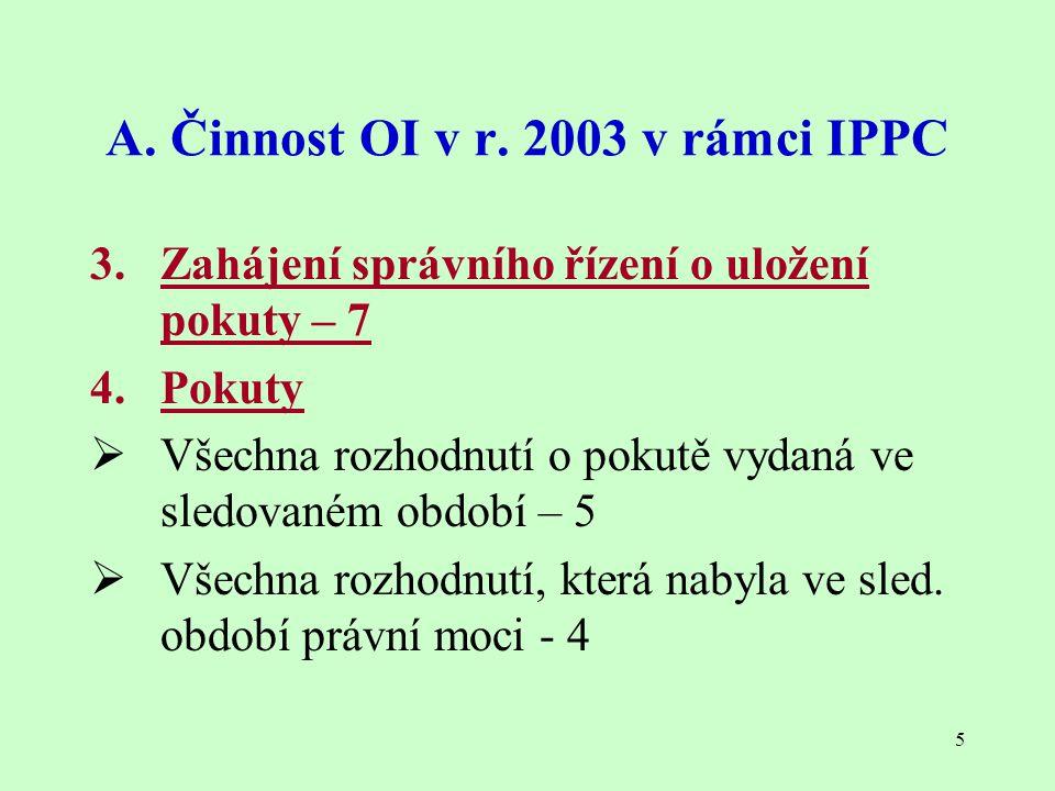 5 A. Činnost OI v r. 2003 v rámci IPPC 3. Zahájení správního řízení o uložení pokuty – 7 4. Pokuty  Všechna rozhodnutí o pokutě vydaná ve sledovaném