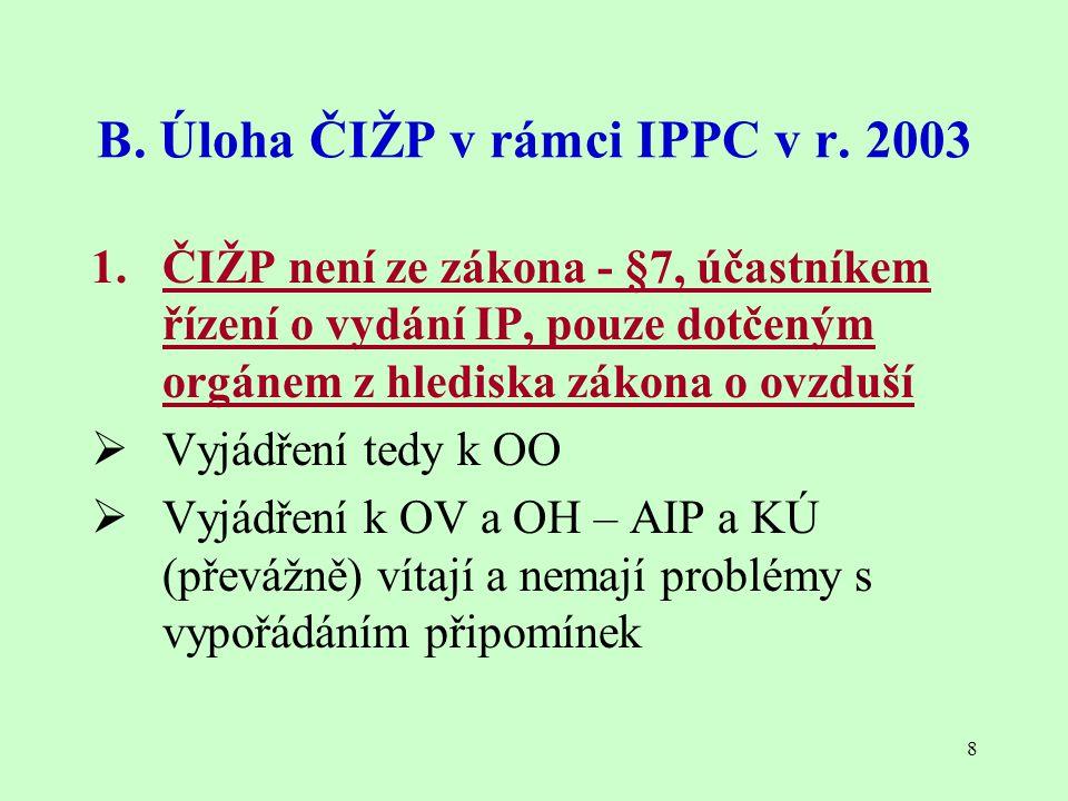 8 B. Úloha ČIŽP v rámci IPPC v r. 2003 1. ČIŽP není ze zákona - §7, účastníkem řízení o vydání IP, pouze dotčeným orgánem z hlediska zákona o ovzduší