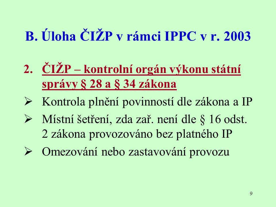 9 B. Úloha ČIŽP v rámci IPPC v r. 2003 2. ČIŽP – kontrolní orgán výkonu státní správy § 28 a § 34 zákona  Kontrola plnění povinností dle zákona a IP