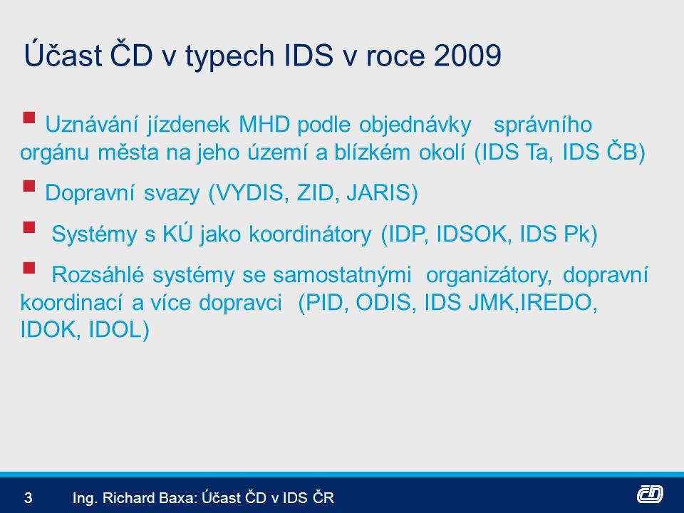 3Ing. Richard Baxa: Účast ČD v IDS ČR Účast ČD v typech IDS v roce 2009  Uznávání jízdenek MHD podle objednávky správního orgánu města na jeho území