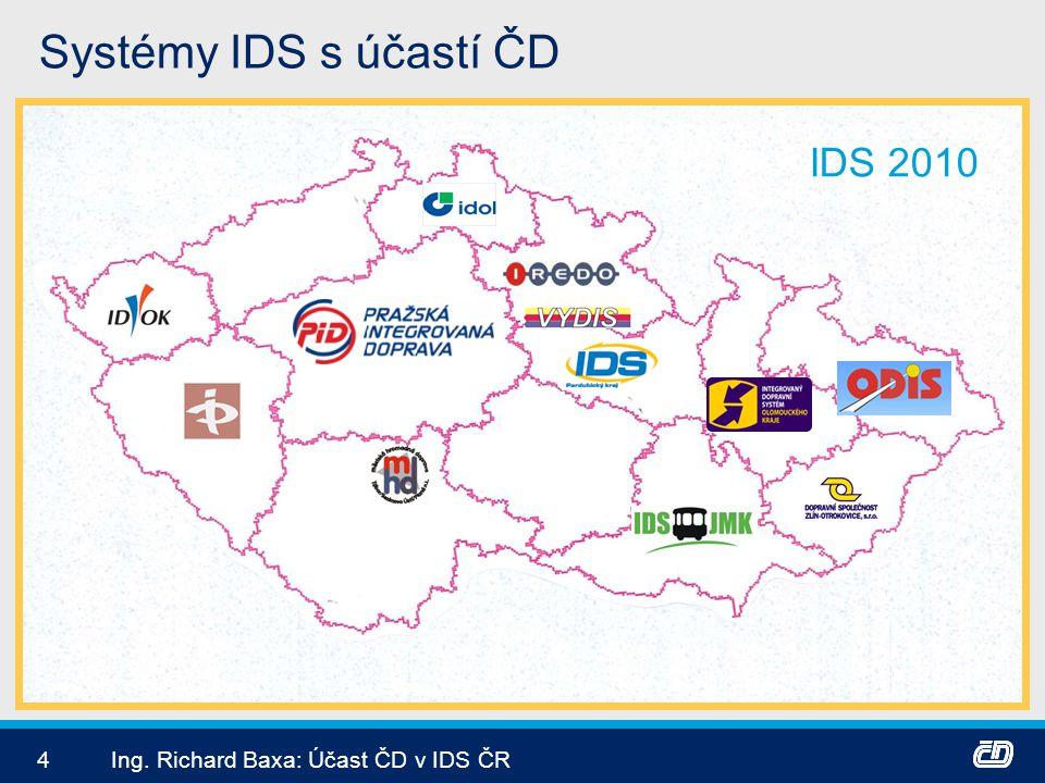 4Ing. Richard Baxa: Účast ČD v IDS ČR Systémy IDS s účastí ČD IDS 2010