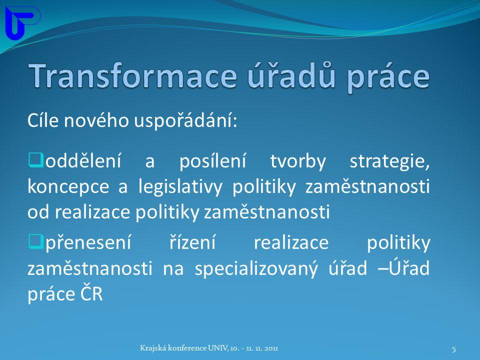 Cíle nového uspořádání:  oddělení a posílení tvorby strategie, koncepce a legislativy politiky zaměstnanosti od realizace politiky zaměstnanosti  přenesení řízení realizace politiky zaměstnanosti na specializovaný úřad –Úřad práce ČR Krajská konference UNIV, 10.