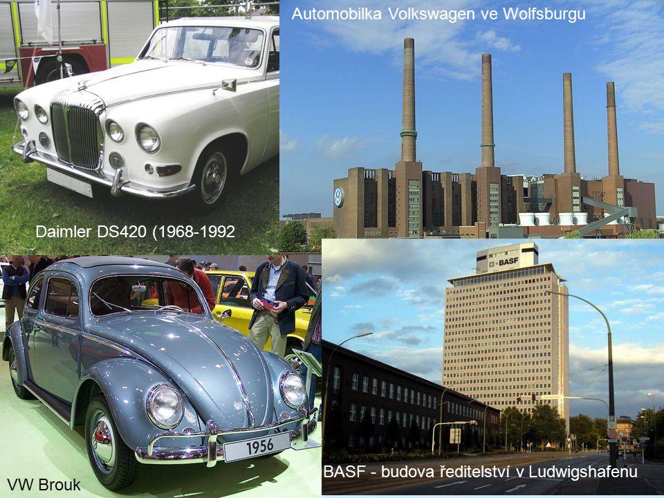 BASF - budova ředitelství v Ludwigshafenu Automobilka Volkswagen ve Wolfsburgu Daimler DS420 (1968-1992 VW Brouk