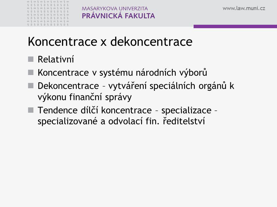 www.law.muni.cz Koncentrace x dekoncentrace Relativní Koncentrace v systému národních výborů Dekoncentrace – vytváření speciálních orgánů k výkonu fin
