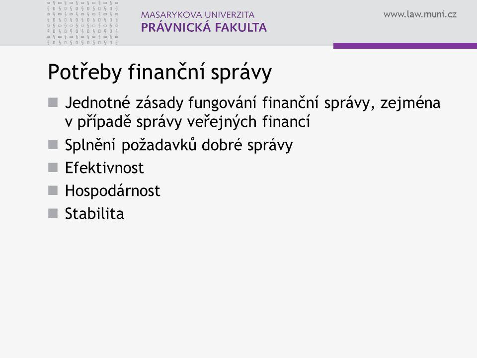 www.law.muni.cz Potřeby finanční správy Jednotné zásady fungování finanční správy, zejména v případě správy veřejných financí Splnění požadavků dobré