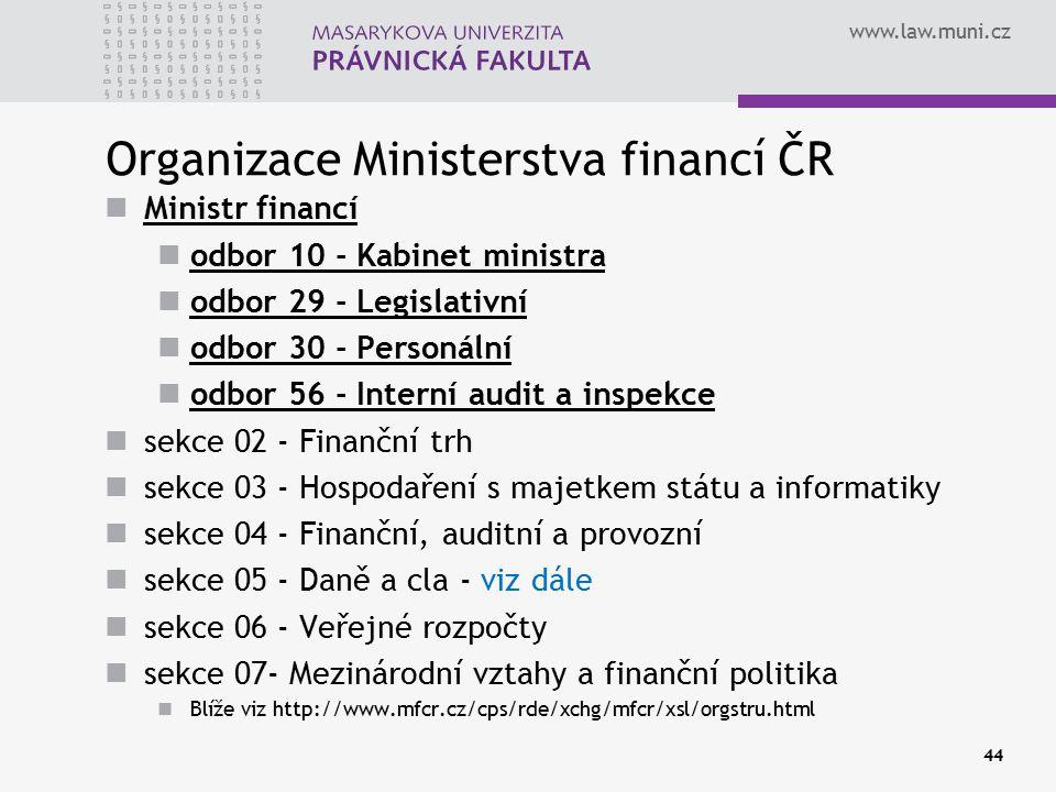 www.law.muni.cz Organizace Ministerstva financí ČR Ministr financí odbor 10 - Kabinet ministra odbor 29 - Legislativní odbor 30 - Personální odbor 56