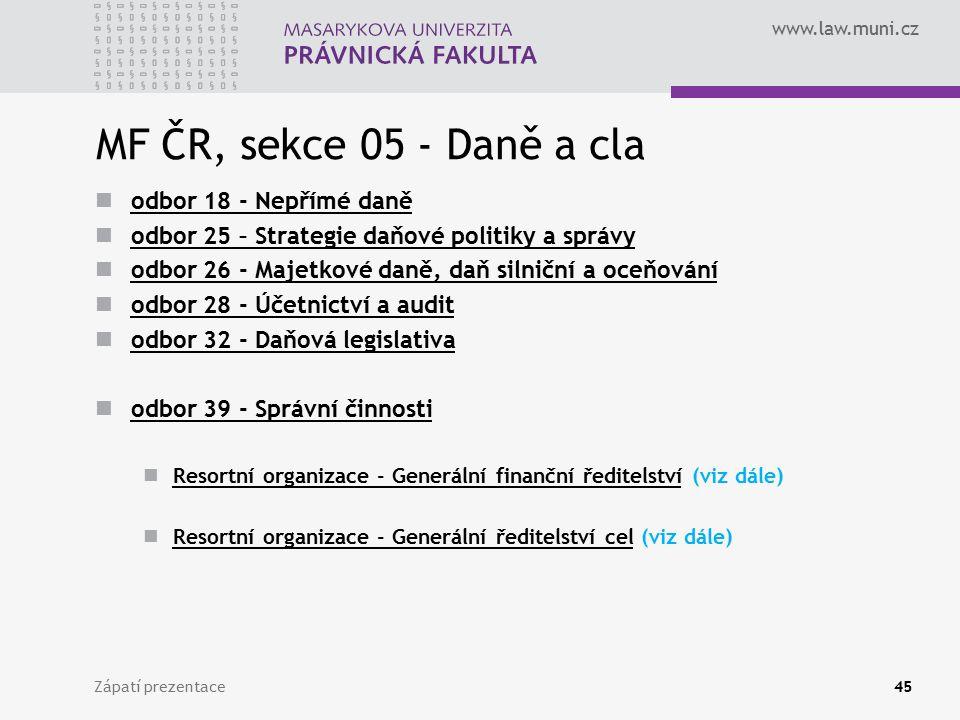 www.law.muni.cz MF ČR, sekce 05 - Daně a cla odbor 18 - Nepřímé daně odbor 25 – Strategie daňové politiky a správy odbor 26 - Majetkové daně, daň siln