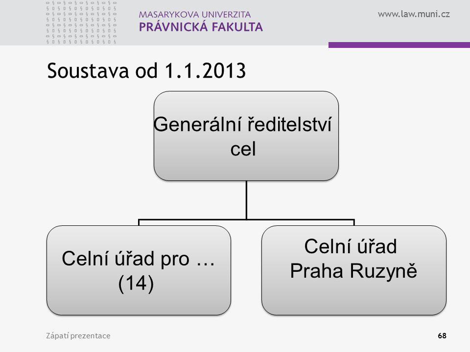 www.law.muni.cz Soustava od 1.1.2013 Zápatí prezentace68 Generální ředitelství cel Generální ředitelství cel Celní úřad pro … (14) Celní úřad pro … (1
