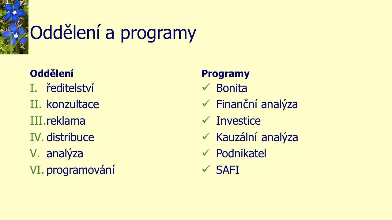 Oddělení a programy Oddělení I.ředitelství II.konzultace III.reklama IV.distribuce V.analýza VI.programování Programy Bonita Finanční analýza Investice Kauzální analýza Podnikatel SAFI