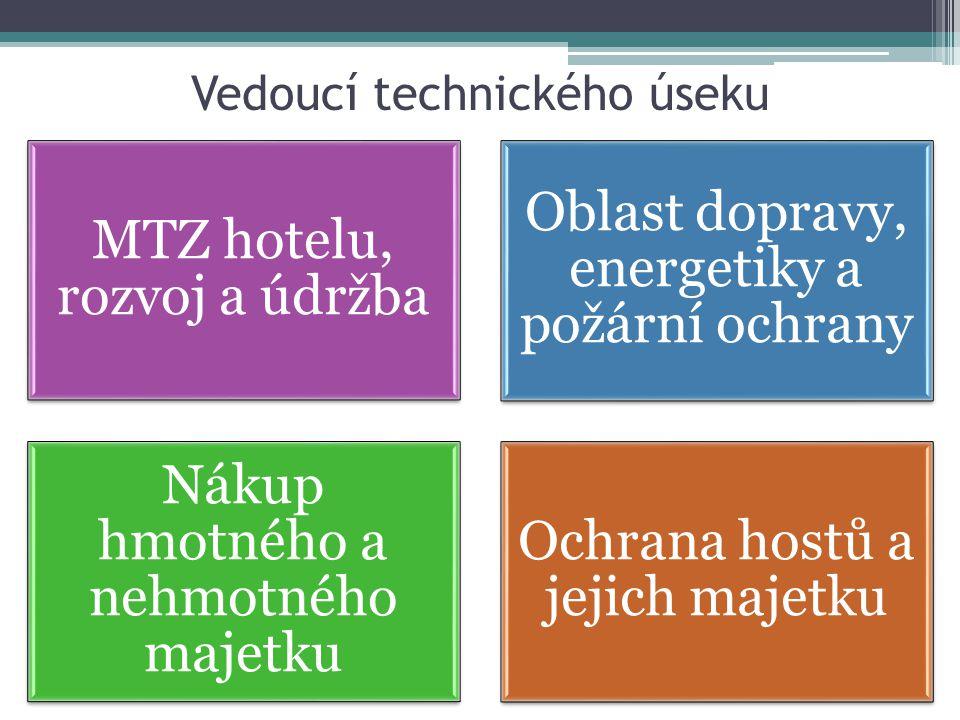 Vedoucí technického úseku MTZ hotelu, rozvoj a údržba Oblast dopravy, energetiky a požární ochrany Nákup hmotného a nehmotného majetku Ochrana hostů a