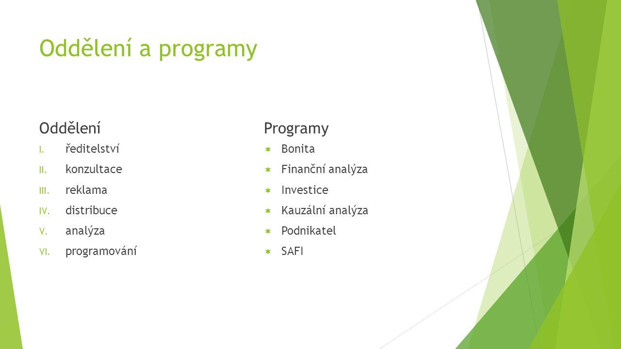 Oddělení a programy Oddělení I. ředitelství II. konzultace III.