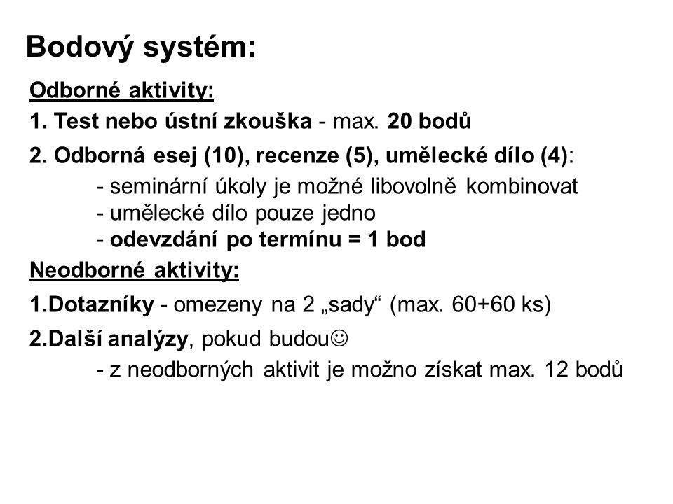 Bodový systém: Odborné aktivity: 1. Test nebo ústní zkouška - max. 20 bodů 2. Odborná esej (10), recenze (5), umělecké dílo (4): - seminární úkoly je