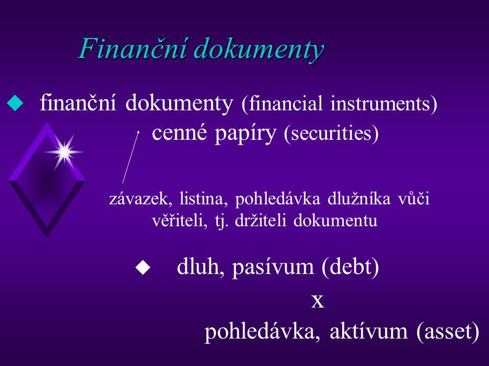 Finanční dokumenty (klasifikace 1) materializované x dematerializované dlužnické (generální úvěrové listy ve středověku, obligace, pokladniční poukázky, směnky, šeky …) x vlastnické (akcie, podíly, kuksy …)