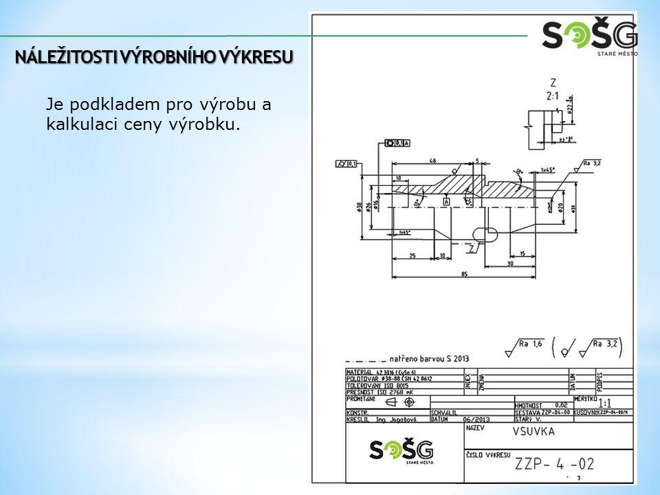 Je podkladem pro výrobu a kalkulaci ceny výrobku.