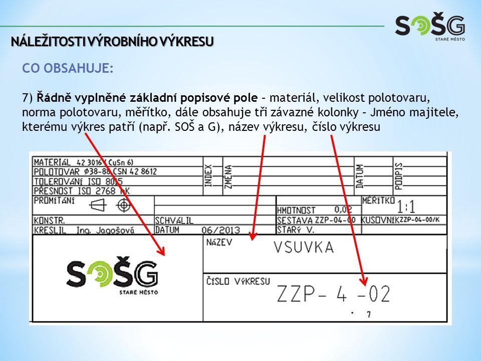 NÁLEŽITOSTI VÝROBNÍHO VÝKRESU CO OBSAHUJE: 7) Řádně vyplněné základní popisové pole – materiál, velikost polotovaru, norma polotovaru, měřítko, dále o