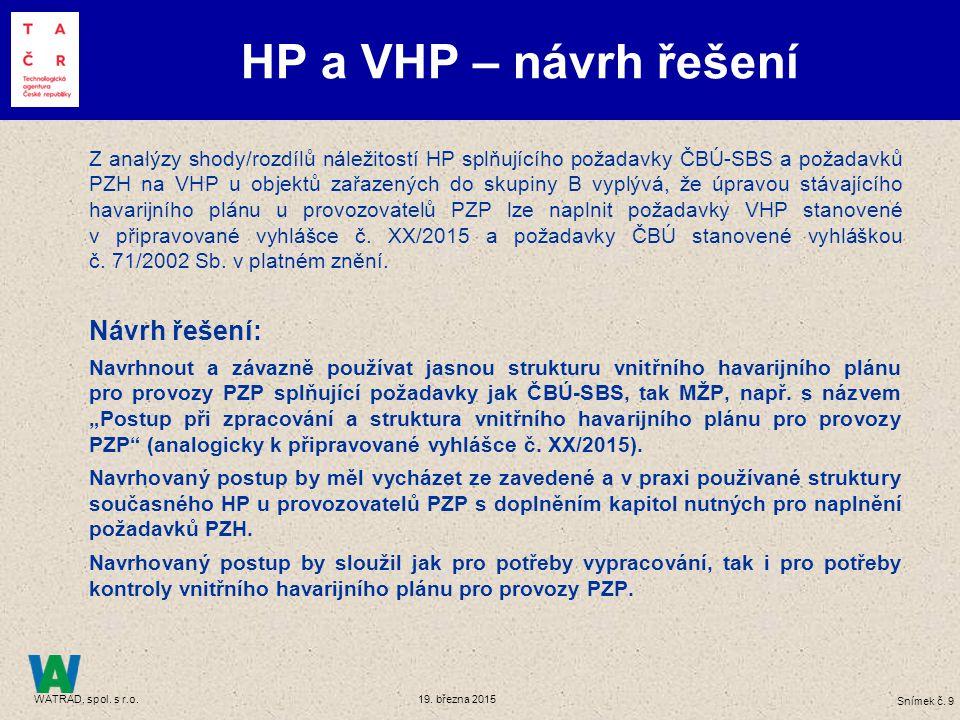 Snímek č. 9 WATRAD, spol. s r.o. 19. března 2015 Z analýzy shody/rozdílů náležitostí HP splňujícího požadavky ČBÚ-SBS a požadavků PZH na VHP u objektů