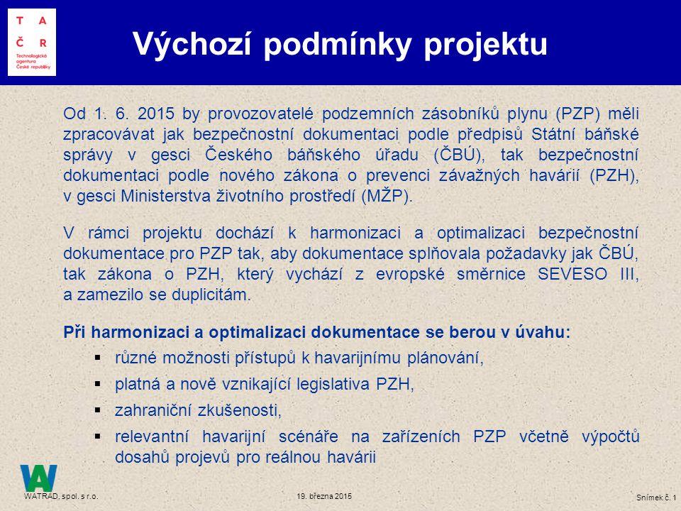 Snímek č. 1 WATRAD, spol. s r.o. 19. března 2015 Výchozí podmínky projektu Od 1. 6. 2015 by provozovatelé podzemních zásobníků plynu (PZP) měli zpraco