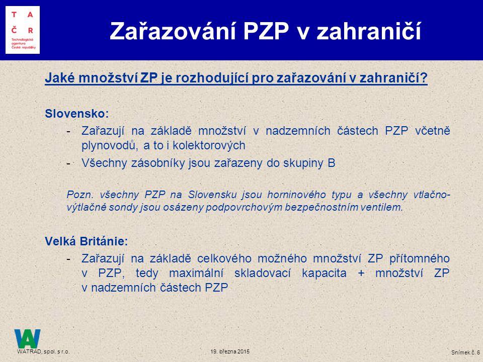 Snímek č. 6 WATRAD, spol. s r.o. 19. března 2015 Jaké množství ZP je rozhodující pro zařazování v zahraničí? Slovensko: -Zařazují na základě množství