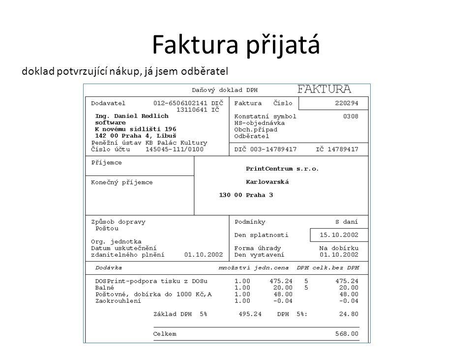 Příjmový pokladní doklad peníze do pokladny
