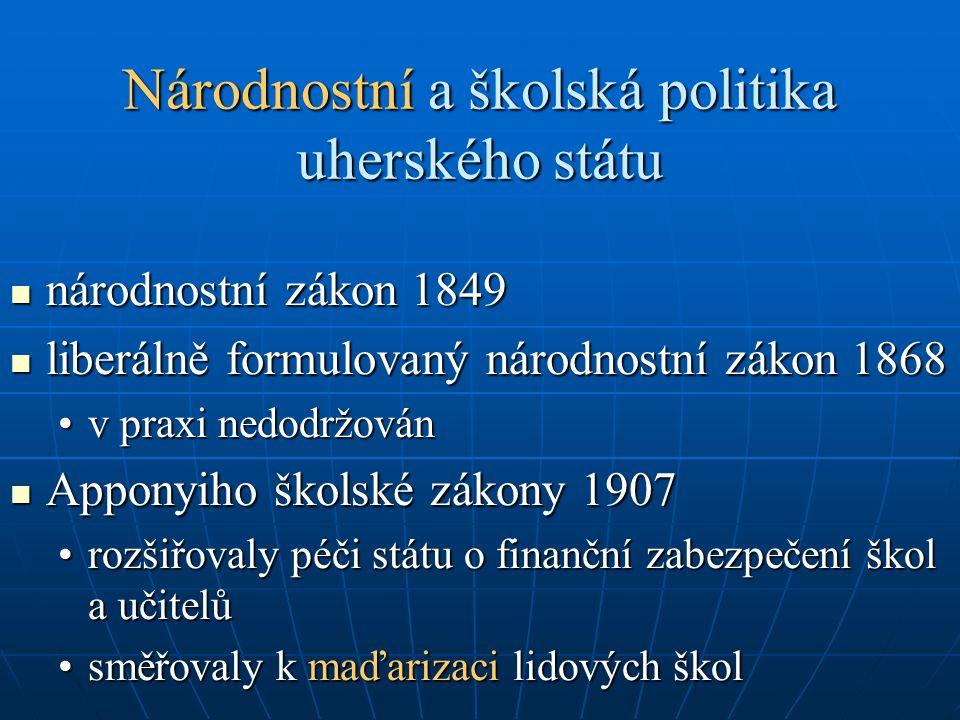 Národnostní a školská politika uherského státu národnostní zákon 1849 národnostní zákon 1849 liberálně formulovaný národnostní zákon 1868 liberálně fo