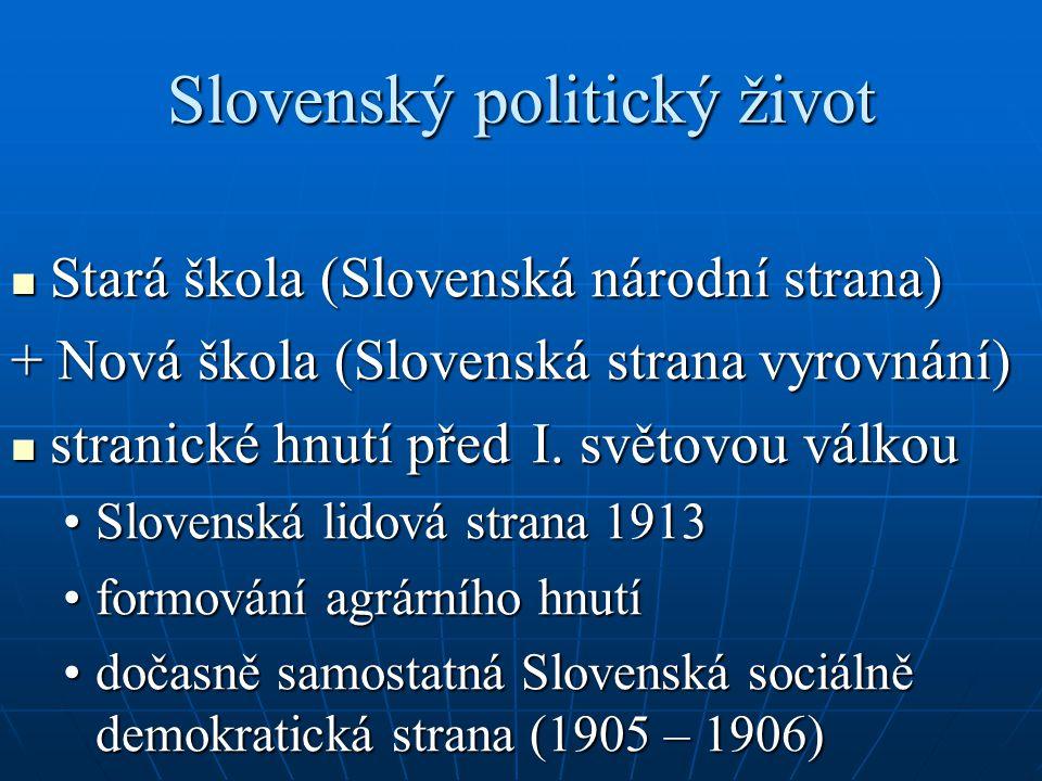 Slovenský politický život Stará škola (Slovenská národní strana) Stará škola (Slovenská národní strana) + Nová škola (Slovenská strana vyrovnání) stra