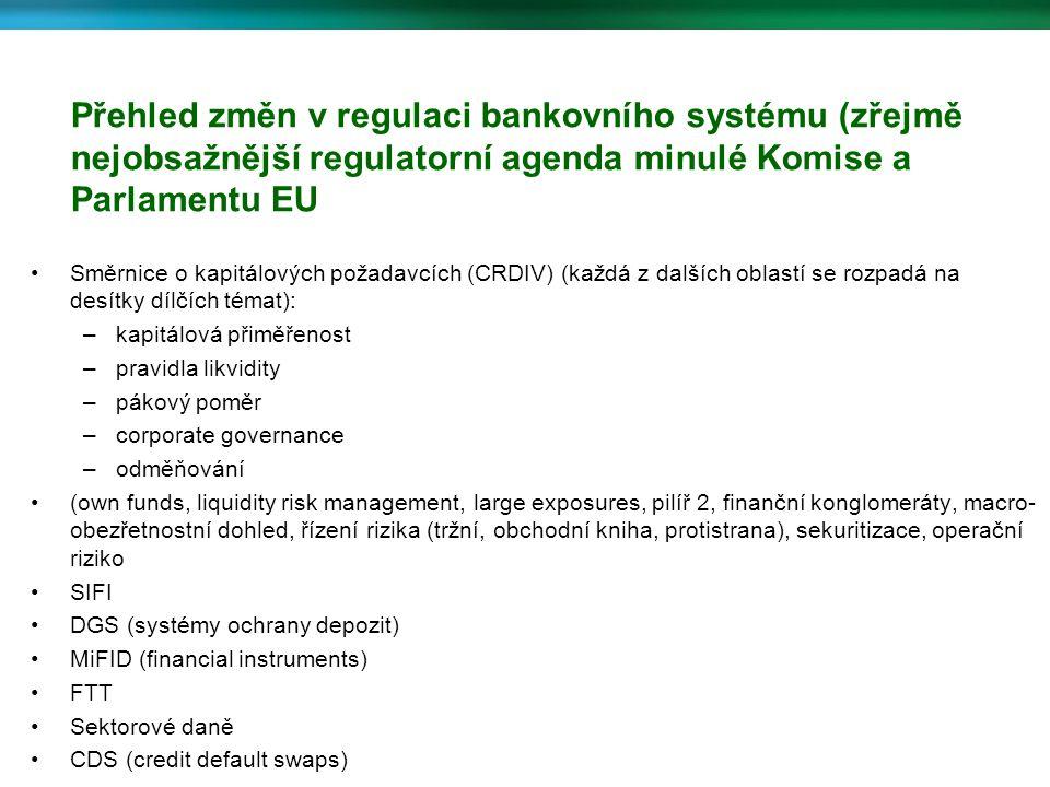 Přehled změn v regulaci bankovního systému (zřejmě nejobsažnější regulatorní agenda minulé Komise a Parlamentu EU Směrnice o kapitálových požadavcích (CRDIV) (každá z dalších oblastí se rozpadá na desítky dílčích témat): –kapitálová přiměřenost –pravidla likvidity –pákový poměr –corporate governance –odměňování (own funds, liquidity risk management, large exposures, pilíř 2, finanční konglomeráty, macro- obezřetnostní dohled, řízení rizika (tržní, obchodní kniha, protistrana), sekuritizace, operační riziko SIFI DGS (systémy ochrany depozit) MiFID (financial instruments) FTT Sektorové daně CDS (credit default swaps)