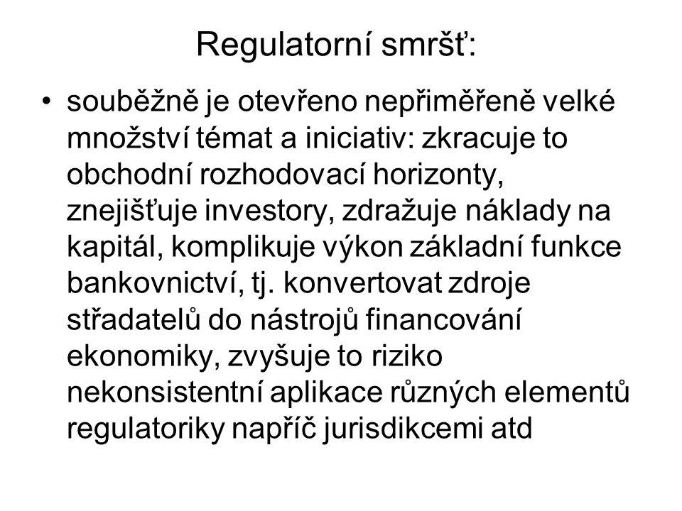 Regulatorní smršť: souběžně je otevřeno nepřiměřeně velké množství témat a iniciativ: zkracuje to obchodní rozhodovací horizonty, znejišťuje investory, zdražuje náklady na kapitál, komplikuje výkon základní funkce bankovnictví, tj.