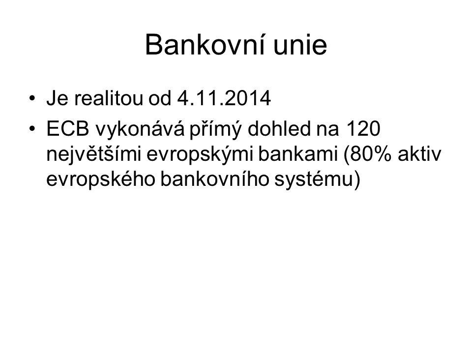 Bankovní unie Je realitou od 4.11.2014 ECB vykonává přímý dohled na 120 největšími evropskými bankami (80% aktiv evropského bankovního systému)
