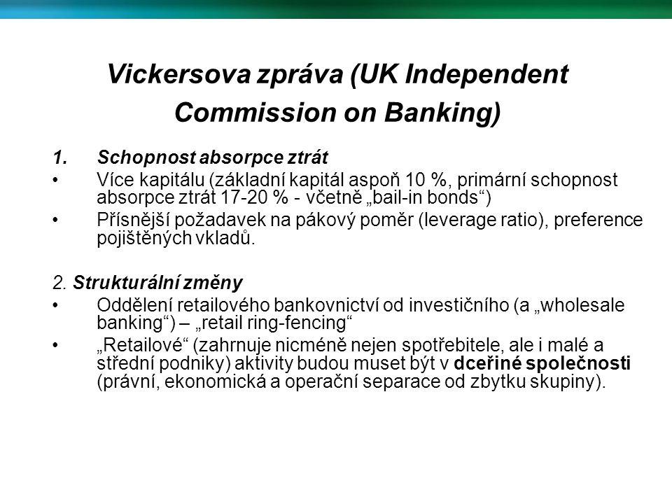 """Vickersova zpráva (UK Independent Commission on Banking) 1.Schopnost absorpce ztrát Více kapitálu (základní kapitál aspoň 10 %, primární schopnost absorpce ztrát 17-20 % - včetně """"bail-in bonds ) Přísnější požadavek na pákový poměr (leverage ratio), preference pojištěných vkladů."""