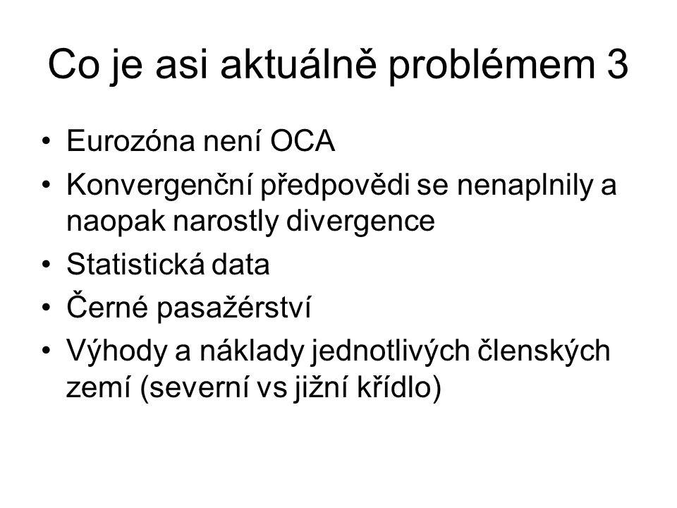 Co je asi aktuálně problémem 3 Eurozóna není OCA Konvergenční předpovědi se nenaplnily a naopak narostly divergence Statistická data Černé pasažérství Výhody a náklady jednotlivých členských zemí (severní vs jižní křídlo)
