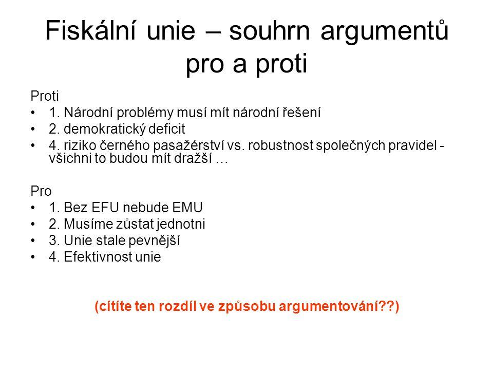 Fiskální unie – souhrn argumentů pro a proti Proti 1.