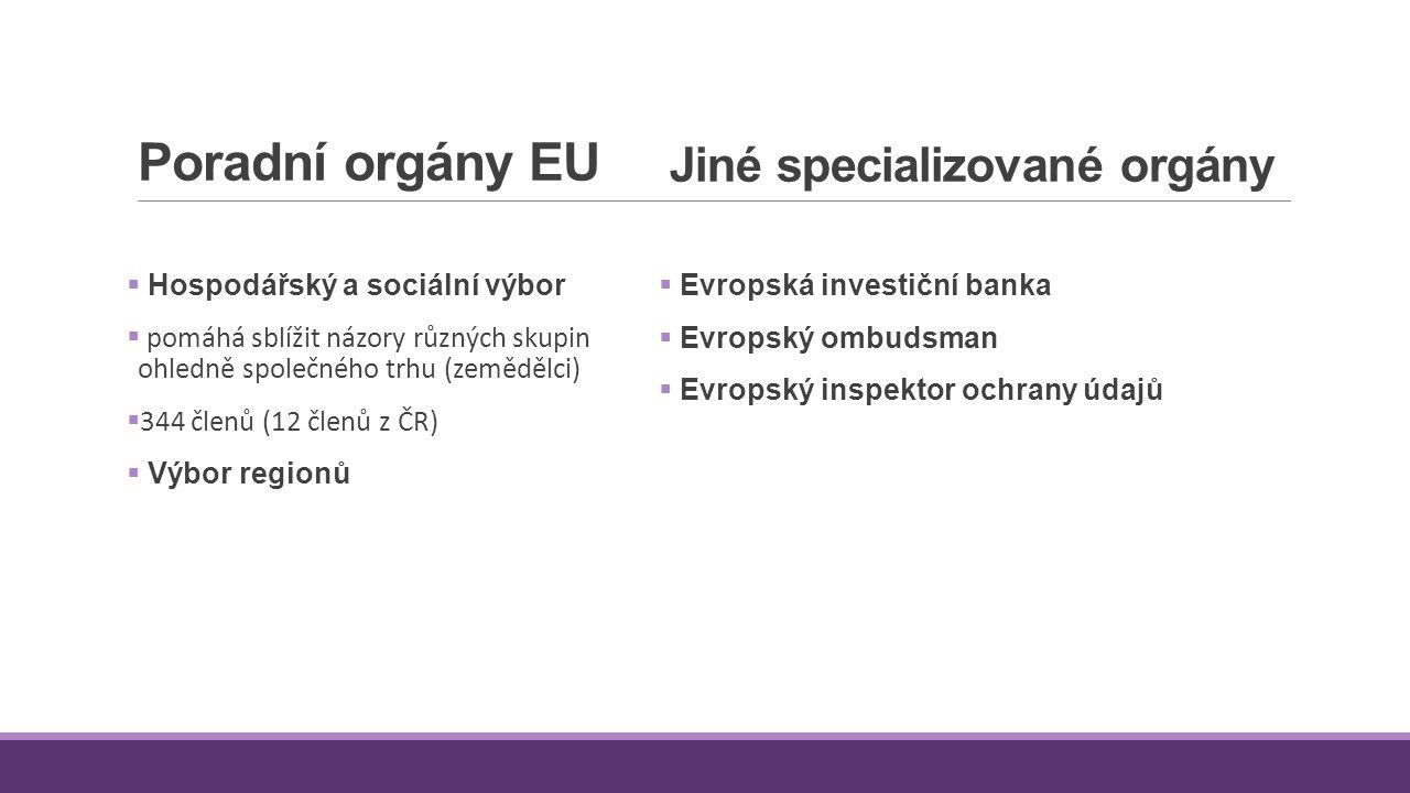 Jiné specializované orgány  Evropská investiční banka  Evropský ombudsman  Evropský inspektor ochrany údajů Poradní orgány EU  Hospodářský a sociá